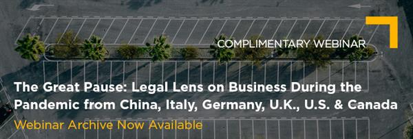 May 14 The Great Pause Legal Lens on Business During the Pandemic Vuture Banner Archive