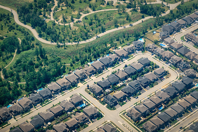 A new subdivision brushing up against nature