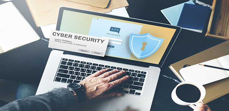 Cyber Security on laptop