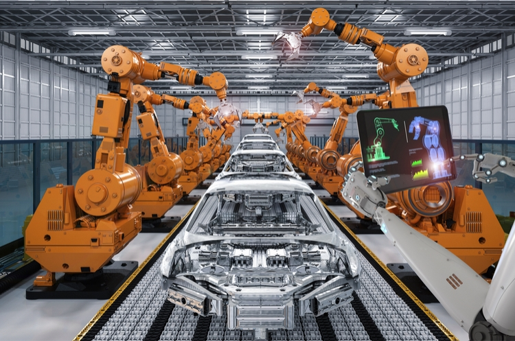 robots in production line