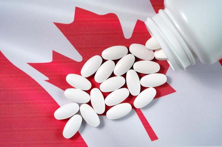shutterstock_749771347_pills on Canadian flag_web