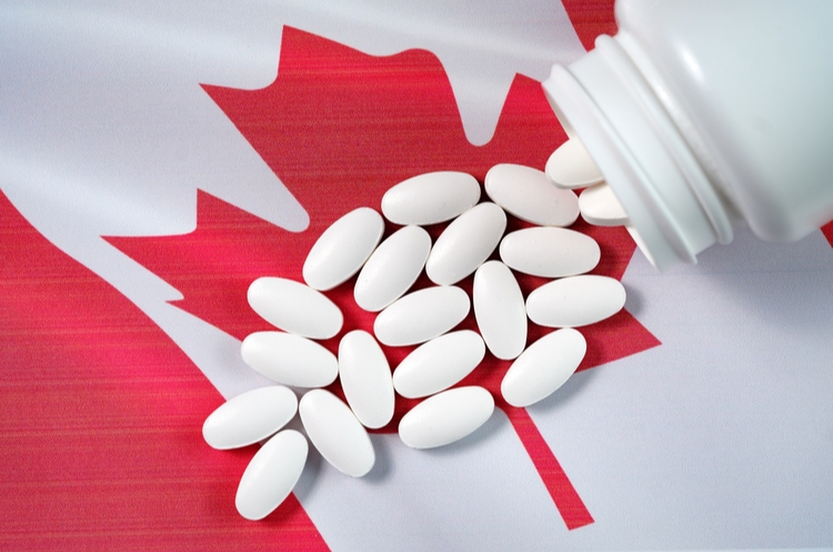 shutterstock_749771347_pills on Canadian flag_web