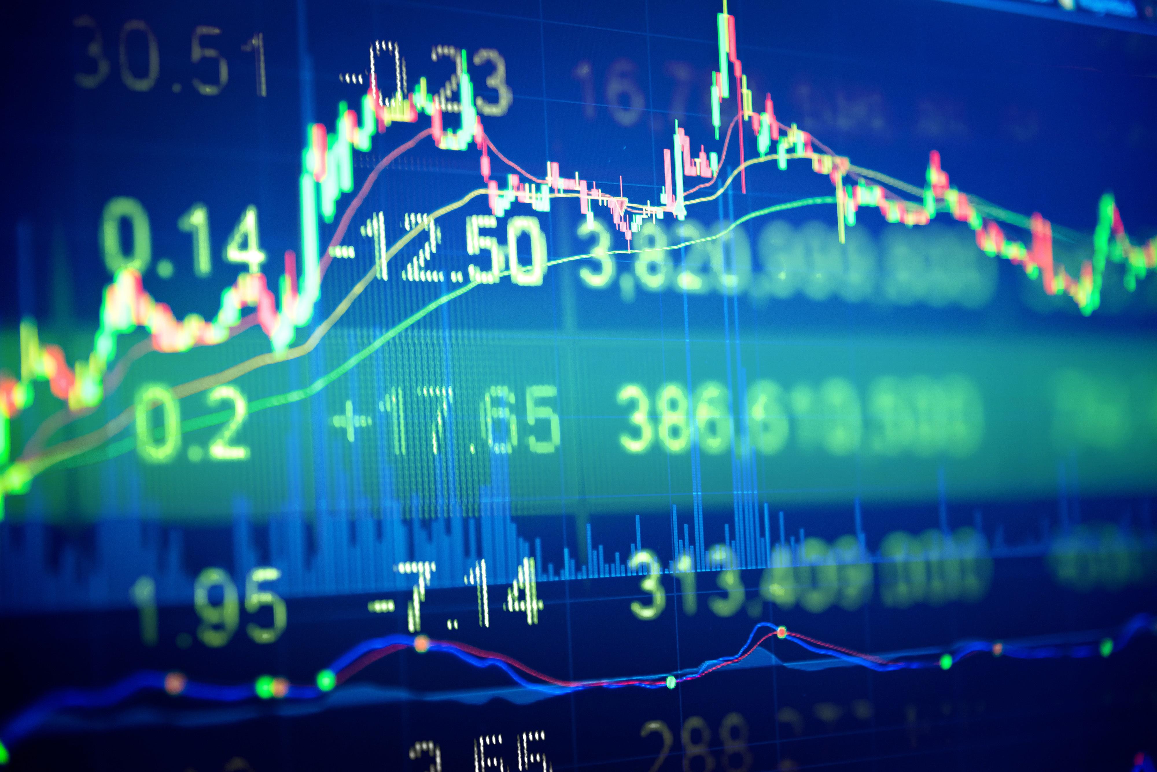 Stocks trading on screen
